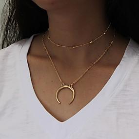 billige Lagvise halskjeder-Dame lagdelte Hals Chrome Gull Sølv 45+5 cm Halskjeder Smykker 1pc Til Gave Daglig Arbeid Love Festival
