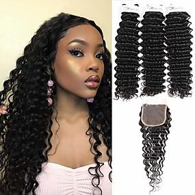 cheap Hair Extensions-3 Bundles with Closure Peruvian Hair Deep Wave Virgin Human Hair 100% Remy Hair Weave Bundles Headpiece Natural Color Hair Weaves / Hair Bulk Extension 8-20 inch Natural Color Human Hair Weaves Odor