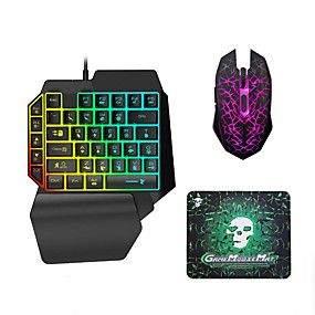 cheap Mouse Keyboard Combo-LITBest USB Wired Single Handed Gaming Keyboard Backlit Illuminous Keys with Wrist Breathing Lights Mouse and Pad Combos 3 Pieces a Kit