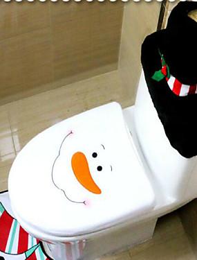 Χαμηλού Κόστους Διακοσμητικά για γιορτές και πάρτι-3pcs / σύνολο santa στολίδι χιονάνθρωπος τουαλέτας καλύπτει καθρέφτη μπάνιο χαλάκι σύνολο χριστουγεννιάτικα Χριστούγεννα διακόσμηση για το σπίτι