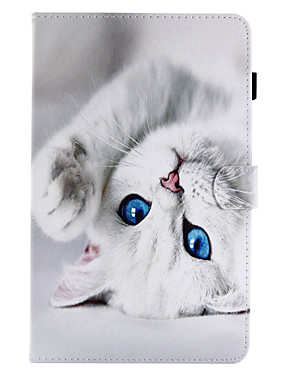 cheap Samsung Tab Series Cases / Covers-Case For Samsung Galaxy / Tab A 8.0 / Tab A 9.7 Card Holder / with Stand / Flip Full Body Cases Cat Hard PU Leather for Tab E 9.6 / Tab E 8.0 / Tab A 10.1 (2016)