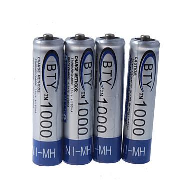 BTY 1000mAh Ni-MH oppladbare AAA-batterier (4-pack)