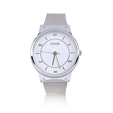 Women's Simple Round Dial Silver Steel Band Quartz Analog Wrist Watch