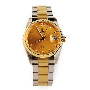 Elegant Golden Tone Crystal Mechanical Wristwatch with Luminous Hand White