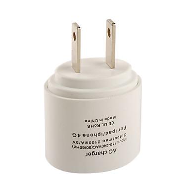 enchufe ul adaptador de alimentación CA / cargador de IPAD / iphone 4 blanco