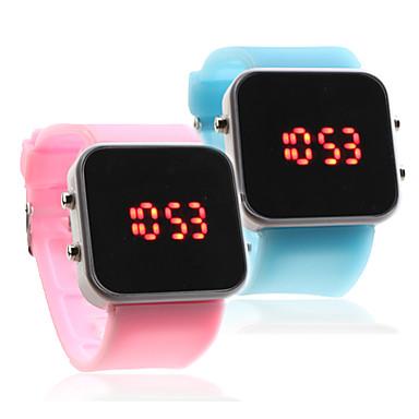 silicone, bande de gelée de quelques carrés sport style miroir conduit montre-bracelet - bleu clair et rose