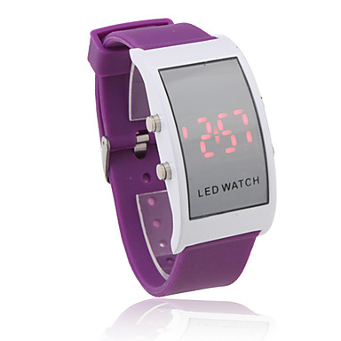 Unisex Red LED Digital Rectangle Case Purple Silicone Band Wrist Watch Cool Watches Unique Watches