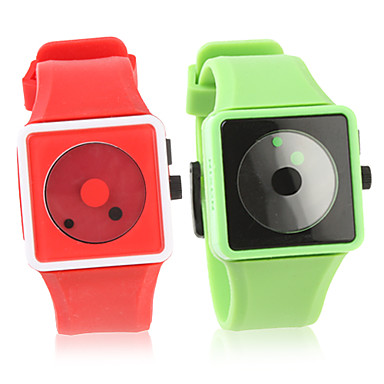 Pair of Fashion Silicone Band Wrist Watch(Green and Red)