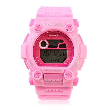 Waterproof Sporty Single Movement Digital Stop Automatic Watch with Night Light - Pink