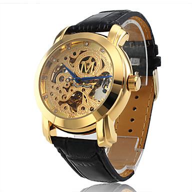 Da uomo Orologio scheletro orologio meccanico Carica automatica Orologi con incisioni imitazione diamante PU Banda Di lusso Nero