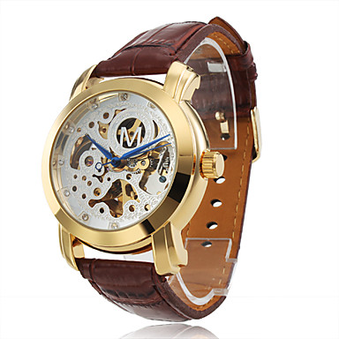 Full Automatic Mechnical Brown Leather Band Wrist Watch with Silver Hollow Engraving Dial