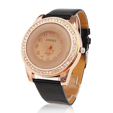PU Leather Band Citrine Face Crystal Decorated Quartz Wrist Watch - Black
