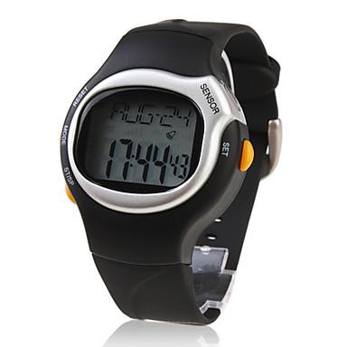 Per uomo Orologio da polso Digitale Sveglia Calendario Cronografo Monitoraggio frequenza cardiaca LCD Gomma Banda Nero
