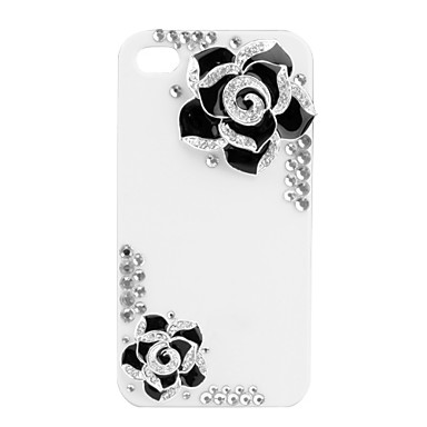 Premium Hard Case with Crystals for iPhone 4 (Black Flower)