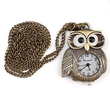 Damen Taschenuhr Halskettenuhr Uhr mit Schlüsselanhänger Quartz Legierung Band Eule Bronze