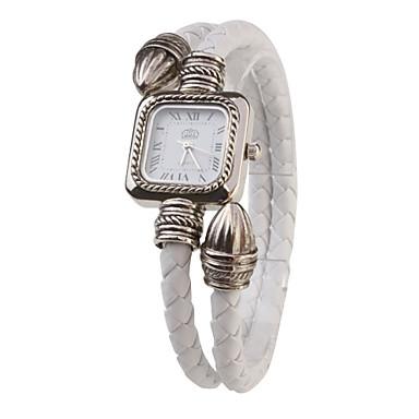 Bayanların Moda Saat Bilezik Saat Quartz PU Bant Beyaz Beyaz