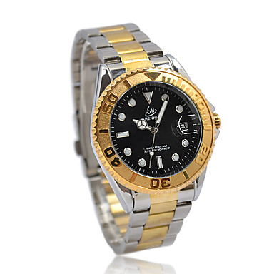 Gift Unique Golden Mechanical Auto Mens Watch UN1