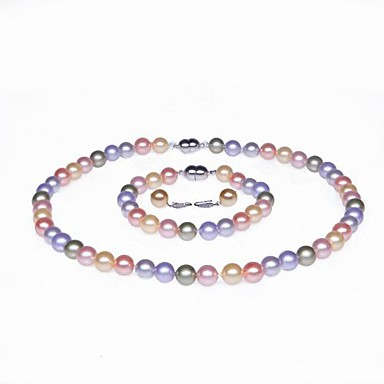 Multicolor Pearl Jewelry Set - Silver Include Pink / Light gray / Rainbow For Wedding Party Anniversary / Rings / Engagement / Gift / Necklace