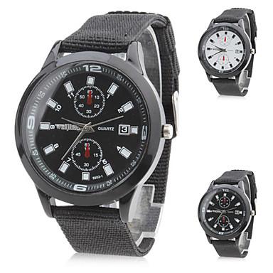 Hombre Cuarzo Reloj Militar Japonés Gran venta Nailon Banda Encanto Negro Blanco