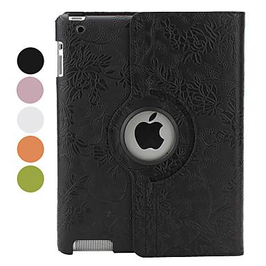 360 graders roterbar blomma pu läderfodral med ställ för den nya iPad och iPad 2 (blandade färger)