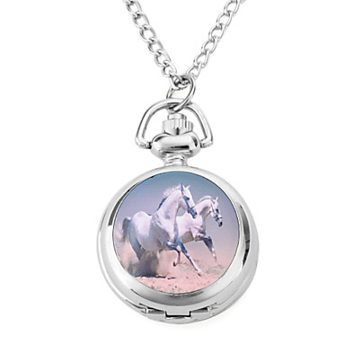 Women's Alloy Analog Quartz Necklace Watches with Horse (Silver) Cool Watches Unique Watches