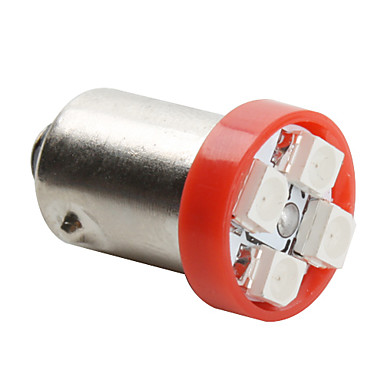 BA9S 3528 SMD 4-led rood licht lamp voor auto (DC 12V, set van 4 stuks)