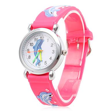 Crianças Relógio de Moda Quartzo Silicone Banda Desenho Rosa