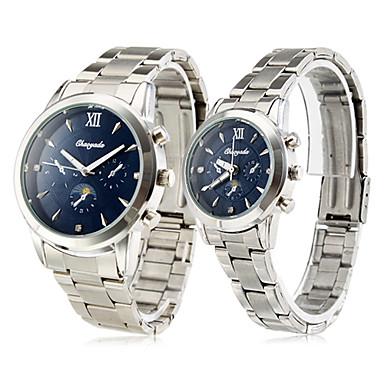 Homens Mulheres Casal Relógio Casual Quartzo Aço Inoxidável Banda Luxo Prata