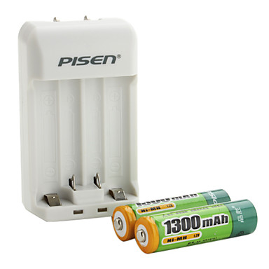 Pisen AA AAA Battery Charger with 2 x 1300mAh Ni-MH AA Rechargeable Battery