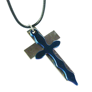 White and Blue Cross Necklace