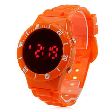 los hombres de plástico estilo deportivo reloj de pulsera digital LED (naranja)