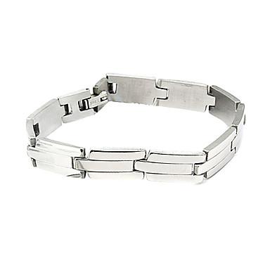 Eruner®Men's Silver Stripe Pattern Titanium Steel Bracelet