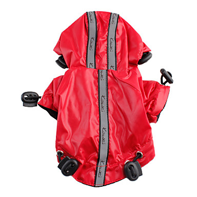 Dog Rain Coat Dog Clothes Waterproof Solid Black Red Costume For Pets