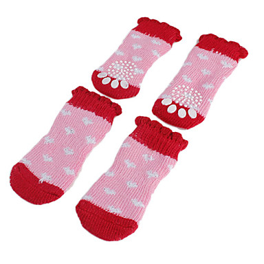 Dog Socks Casual/Daily Keep Warm Winter Spring/Fall Color Block Pink Cotton