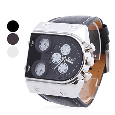 Men's  PU Analog Multi-Movement Wrist Watch (3 Time Zone, Assorted Colors) Cool Watch Unique Watch