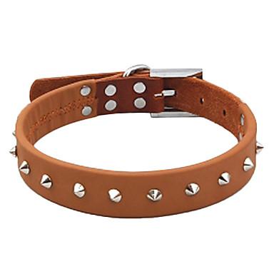 Adjustable Metal Rivet Style Genuine Leather Dog Collar (48-60cm/18.9-23.6inch)