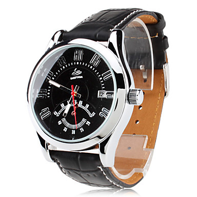 Men's Auto-Mechanical Calendar Black PU Band Analog Wrist Watch