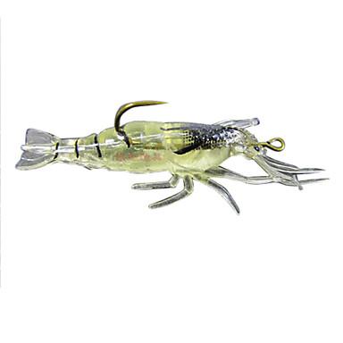 4 pcs Leurre souple / leurres de pêche Leurre souple / Ecrevisses / Crevette Silicone Lumineux Pêche en mer / Pêche d'eau douce / Pêche de la perche