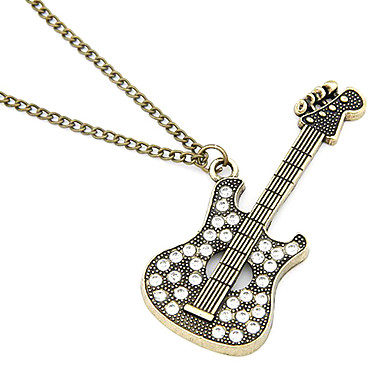 Antique Copper Guitar Zircon Necklace