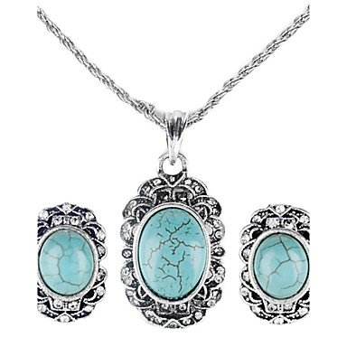 women's Retro Style Emerald Necklace and Earrings