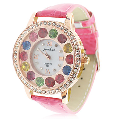 Damen Lederband Analog Quarz-Armbanduhr mit bunten rhinstone Dekoration (Red)