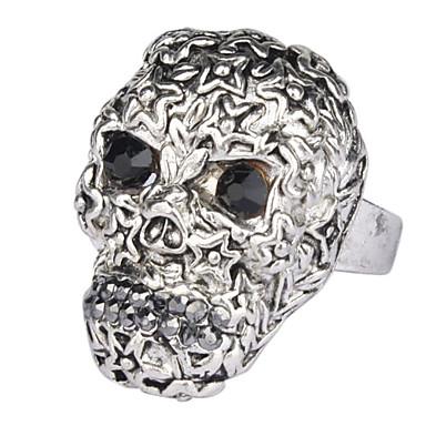 moda anillo de calavera con ojos de diamante de imitación