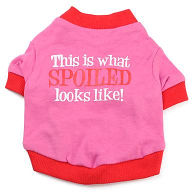 Chien Tee-shirt Vêtements pour Chien Lettre et chiffre Rouge Rose Coton Costume Pour les animaux domestiques