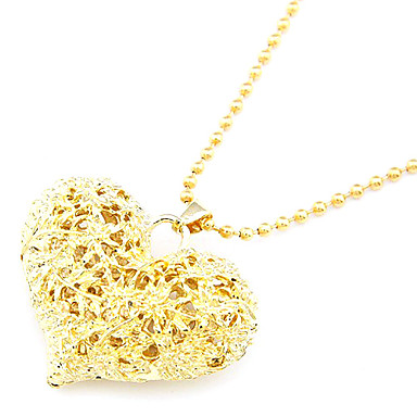 Gold Plated Hollow-Out Peach Heart Alloy Necklace