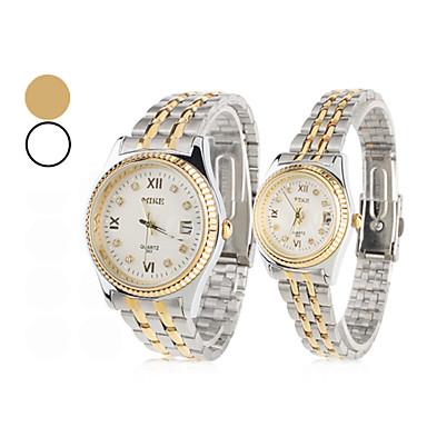 estilo unisex de acero par analógico de cuarzo reloj de pulsera estilo pareja (plata)