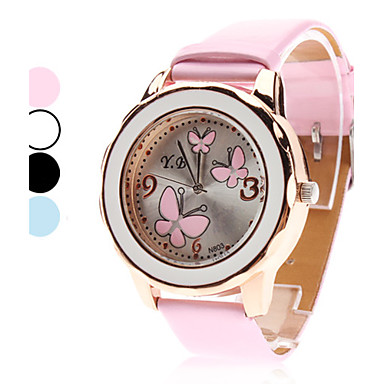 Women's Quartz Analog 3 Butterflies Pattern PU Band Wrist Watch (Assorted Colors)