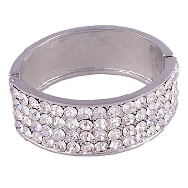 4 Raw gran cristal redondo estilo simple de la aleación pulsera (Plata)