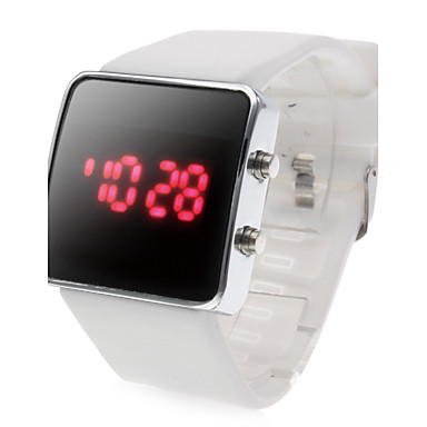 Orologio LED quadrato, sportivo, unisex, cinturino in silicone -Bianco