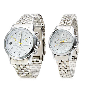Pair of Alloy Analog Quartz Couple Watches with White Face (Silver)