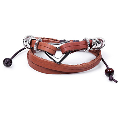 Alloy Peach Heart Shape Leather Bracelet